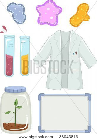 Illustration Featuring Different Science Lab Elements