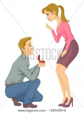 Illustration of a Man Proposing to His Girlfriend