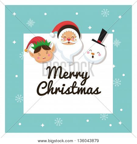 Merry Christmas concept represented by santa, elf and snowman cartoon icon. Colorfull and frame illustration