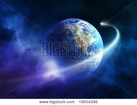 Comet Moving Passing Planet Earth