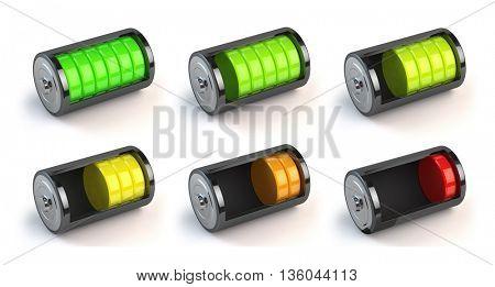 Battery charge status isolated on white. Level indicator, energy concept. 3d illustration