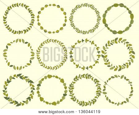 Hand drawn wreaths with a place for your text. Circle wreath for invitation cards, wedding card design and other.