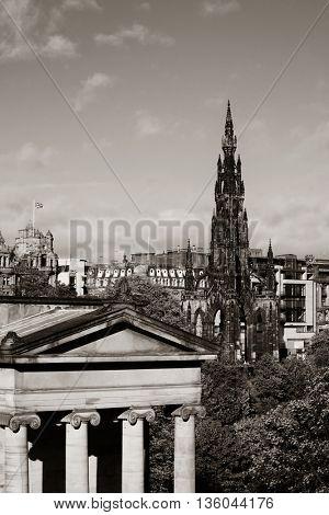Scott Monument and National Galleries in Edinburgh