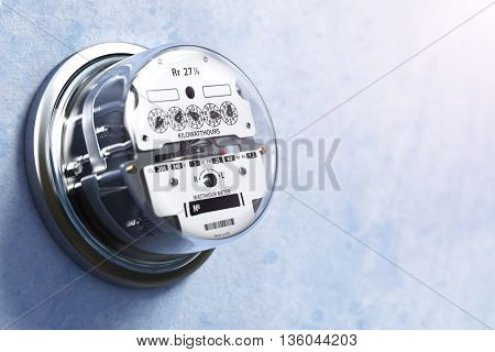Analog electric meter on the wall.  Electricity consumption concept. 3d illustration