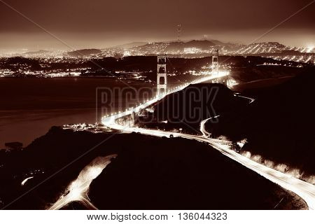 Golden Gate Bridge in San Francisco viewed from mountain top at night