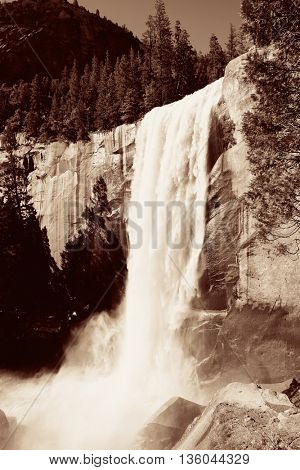 Waterfalls in Yosemite National Park in California BW