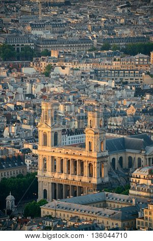 Paris city rooftop view at sunset.