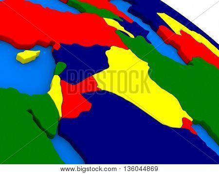 Israel, Lebanon, Jordan, Syria And Iraq Region On Colorful 3D Globe