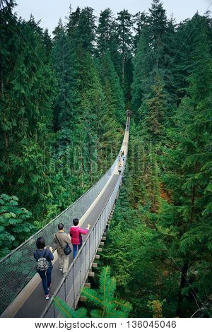 Capilano Suspension Bridge in Vancouver, Canada.