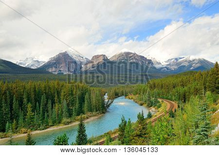 Morant Curve with river and railway in Banff National Park in Canada