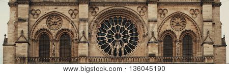 Notre Dame de Paris closeup view panorama as the famous city landmark.