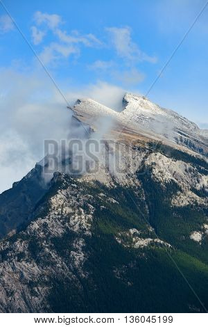 Landscape of Banff National Park in Canada with snow capped mountain