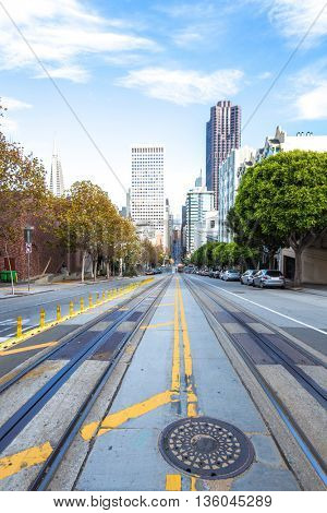 city road with tram rail in downtown of san francisco