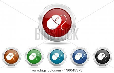 mouse round glossy icon set, colored circle metallic design internet buttons