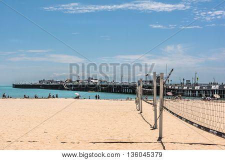 Santa Cruz,California,USA - July 20, 2015 : Santa Cruz Wharf seen from the sand beach