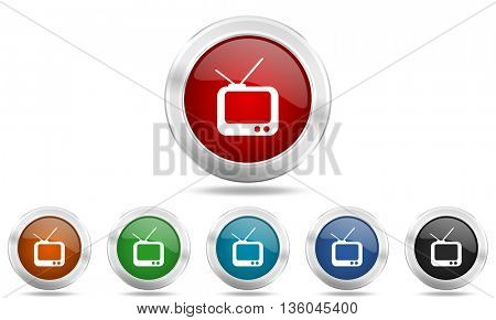 tv round glossy icon set, colored circle metallic design internet buttons