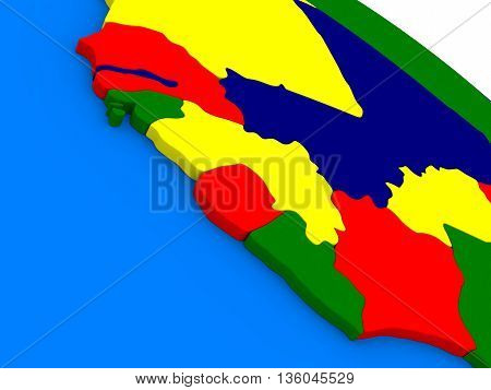 Liberia, Sierra Leone And Guinea On Colorful 3D Globe