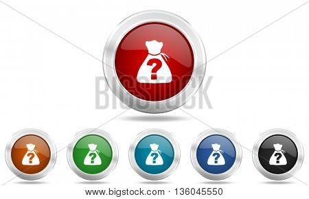 riddle round glossy icon set, colored circle metallic design internet buttons