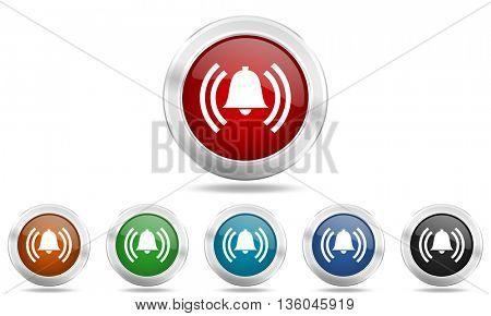 alarm round glossy icon set, colored circle metallic design internet buttons