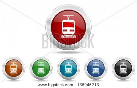 train round glossy icon set, colored circle metallic design internet buttons