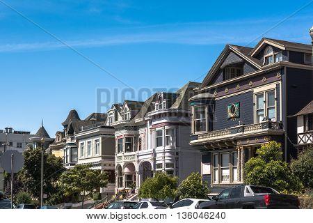 San Francisco,California,USA - June 23, 2014 : Victorian houses in Scott Street