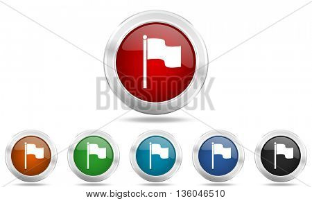 flag round glossy icon set, colored circle metallic design internet buttons