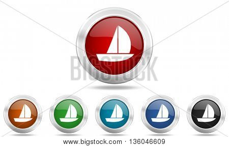 yacht round glossy icon set, colored circle metallic design internet buttons