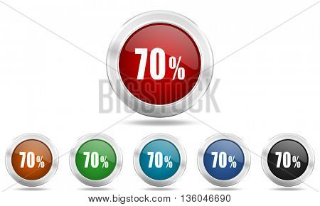 70 percent round glossy icon set, colored circle metallic design internet buttons