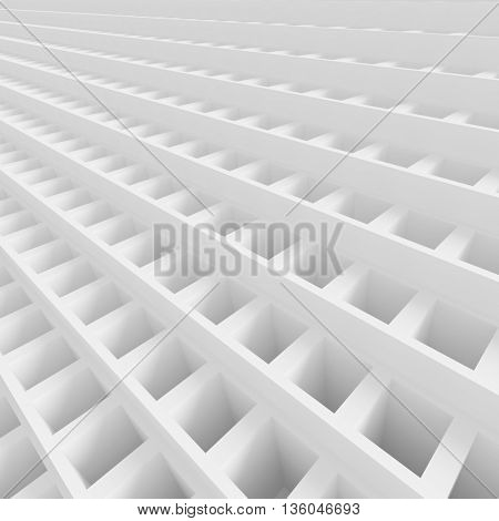 3d Rendering of White Cubes Background. Abstract Futuristic Grid Design