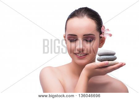 Young woman during spa session isolated on white