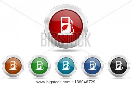 biofuel round glossy icon set, colored circle metallic design internet buttons