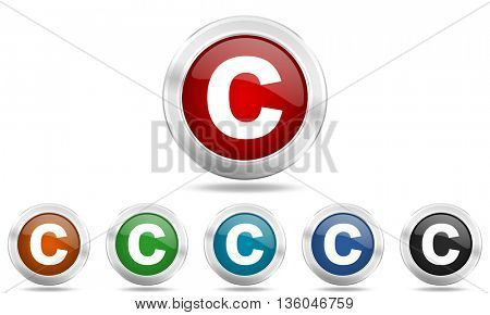 copyright round glossy icon set, colored circle metallic design internet buttons