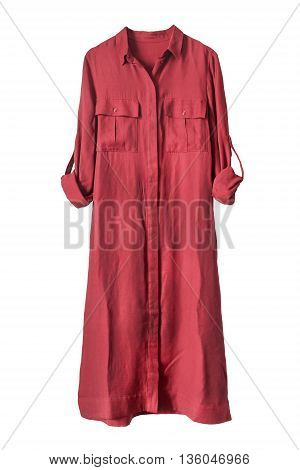 Red silk shirt dress on white background
