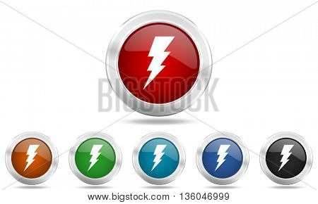 bolt round glossy icon set, colored circle metallic design internet buttons