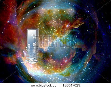 open door to another world 3D Render
