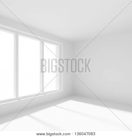 3d Illustration od White Office Interior Design. Empty Room with Window. Abstract Architecture Background
