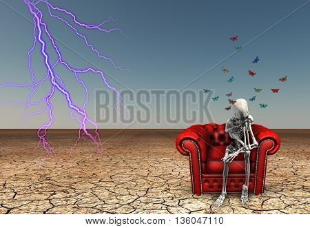 Lighting strikes near contemplative skeletal figure 3D Render