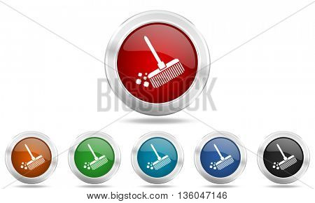 broom round glossy icon set, colored circle metallic design internet buttons