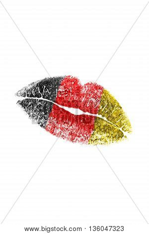 Kiss mark in german flag colors on white background