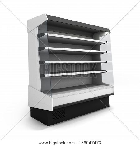 Showcase Refrigeration Illuminated Front View Isolated On White Background 3D Render