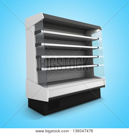 Showcase Refrigeration Illuminated Front View On Gradient Background 3D Render