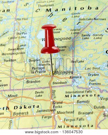 Map with pin set on Winnipeg, USA.