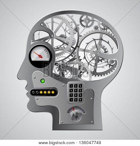 Human mechanical metallic head half face with brain gears and other equipment. Techno symbol and Steampunk style Business concepts. Vector illustration
