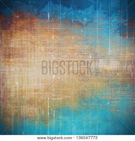 Scratched vintage texture, grunge style frame or background. With different color patterns: yellow (beige); brown; blue; red (orange); cyan