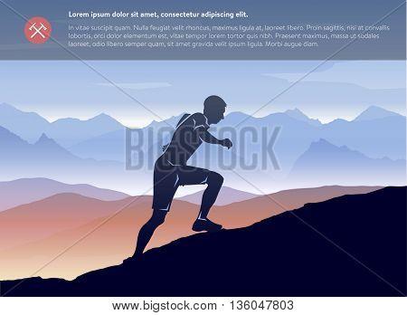 Sport running man in cross mountain landscape template. Vector layered