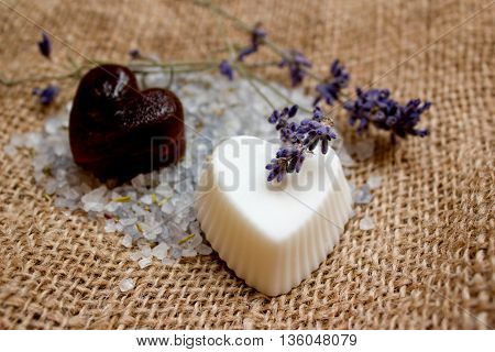 Two Heart Soaps, Lavender Twigs And Bath Salt On Jute Underlay