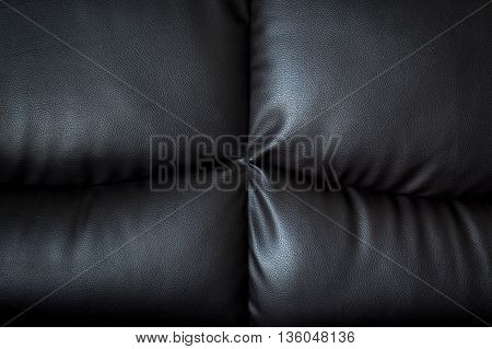 Close Up Black Leather Sofa And Textured And Background With Space.