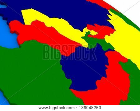 Central Asia On Colorful 3D Globe