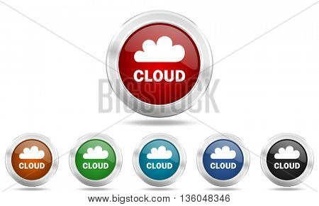 cloud round glossy icon set, colored circle metallic design internet buttons