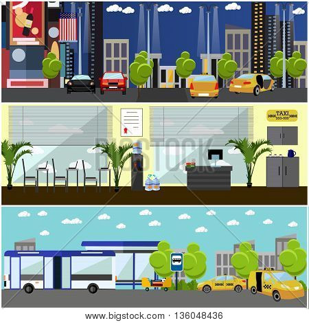 Vector set of taxi service company concept banners. Taxi cabs on a street.